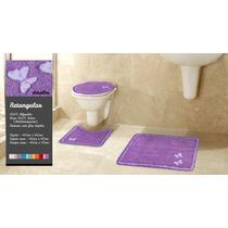 Tapete De Banheiro Kit 3 Peças 100% Algodão Butterfly