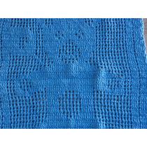 Tapete De Crochê Em Barbante Urso Azul Claro Pequeno