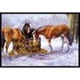 Cavalos Comendo Feno Na Neve Mat Interior Ou Exterior 18x27