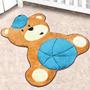 Tapete Infantil Formato Urso Baby Azul Turquesa 78 X 86 Cm -