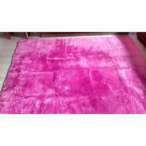 Tapete Rosa Peludo 1,90x2,38m Sala Ou Quarto Antiderrapante