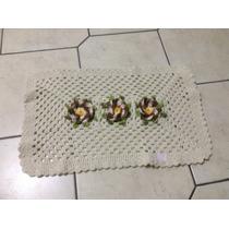 Tapete Barbante - Branco, Flores Marrom - 48x72cm