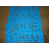 Tapete De Crochê Em Barbante Urso Azul Claro 57cm Compr.
