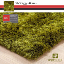 Tapete Silk Shaggy Fio Seda : Verde, Sob Medida : 1,50x2,00m