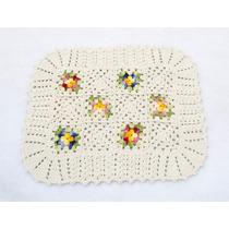Tapete Crochê Barbante Com Flores Multicoloridas