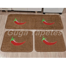Kit Jogo Tapetes Bege Cozinha Pimenta 3 Pçs Antiderrapante