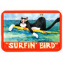 Gato Preto E Branco Surfin Pássaro Cozinha Ou Banho Mat 24x