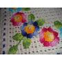 Tapete De Crochê Barbante Retângular Com Flores Coloridas