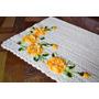 Tapete De Crochê Barbante Com Flores Amarelas Mescladas