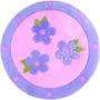 Tapete Infantil Círculo C/ Flores Pelúcia Antialérgico 1,15m