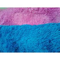 Tapete 2,00 X 2,40 Peludo Felpudo 40mm Rosa E Azul