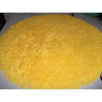 Tapete De Sala Shaggy Redondo Amarelo - 1,00 De Diametro