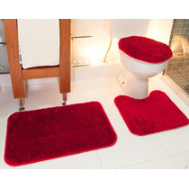 Jogo De Banheiro Shaggy Luxo 3 Peças Vermelho - Oasis