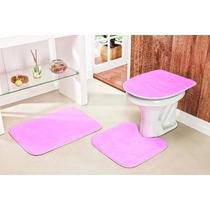 Jogo De Tapete Para Banheiro 3 Peças De Pelucia Cor Rosa