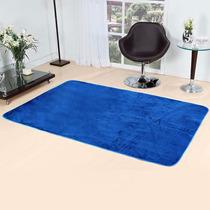 Tapete Azul Sala Quarto Liso Pelucia 2,00x1,40 Promoção