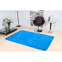 Tapete Azul Turquesa Em Pelúcia P\ Sala Quarto Liso 2mx1,40m