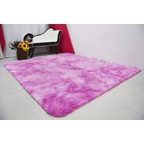 Tapete Quarto Sala 1,00x1,20 Felpudo Com 4cm Rosa Mesclado