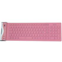 Mini Teclado Usb Flexível Rosa - Abnt - Dobrável E Lavável