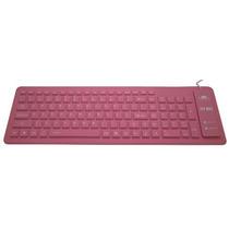 Teclado Flexível Silicone Dobrável Notebook Pc Viagem Rosa