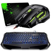 Kit Gamer Teclado Iluminado Multilaser + Mouse + Mouse Pad