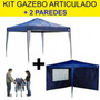 Kit Tenda Gazebo Articulado Base Topo 3x3 M + 2 Paredes Mor