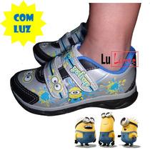 Tênis Infantil Minions Personagem C/ Velcro Acende Pisca Luz
