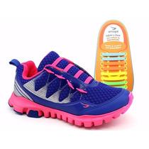 Tênis Ortopé Estica E Puxa Azul/pink - Galluzzi Calçados