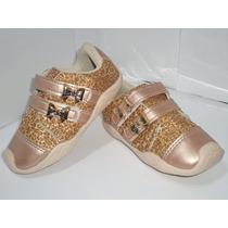 Tênis Infantil Feminino Dourado Lacinho Oncinha Velcro - 361