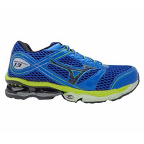 Tênis Mizuno Wave Creation 13 Azul Royal E Verde Limão
