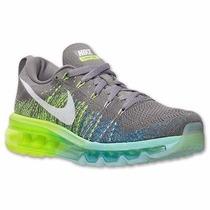 Tênis Nike Flyknit 2014 Cinza/verde Original Mega Oferta