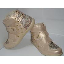Tênis Infantil Botinha - Sneaker Feminino Dourado Com Velcro