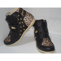 Tenis Botinha Sneaker Feminino Infantil Preto Velcro - 362