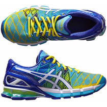Tênis Asics Kinsei 5 Gel Running Masculino Azul E Amarelo