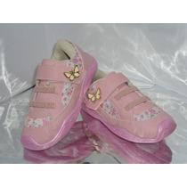 Tênis Feminino Rosa Floral Infantil Velcro Elástico - 359