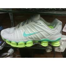 Tenis Nike Shox 12 Molas Branco E Verde Agua Nº37 Ao 43 Novo