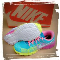 Nike Running Flyknit Max 2015 Corrida Azul Marinho E Laranja