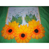 Pano Ds Prato Com Pintura E Crochê 42x78cm