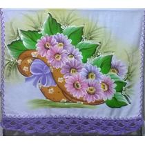 Pano De Prato Pintado Á Mão Chapel Com Flores
