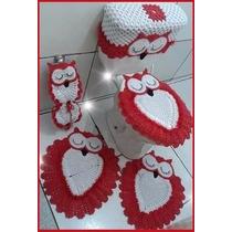 Jogo 6 Peças + 1 Grátis Tapete De Banheiro Crochê Barbante