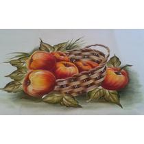 Pano Prato Fogão Pintado Mão Bico Crochê Guardanapo Frutas