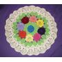 Tapete Forro De Mesa Crochê 2 Em 1 Medalhão 6 Flores