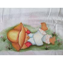 Fralda Pintada À Mão Com Bico De Crochê Médio