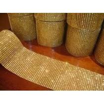 Manta De Strass Dourada Strass Crystal - 2 Manta 6cm X 22cm