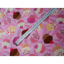 Tecido Importado 100% Algodão Cupcakes 45 Cm X 1,10m Tcpk2