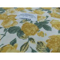 Tecido Fabricart Flores Mostarda (0,50 M X 1,50 M)