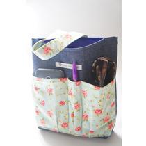 Lixeira Organizadora Para Carro Jeans/floral