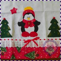 Pano De Prato Em Patchwork - Pinguim Natal