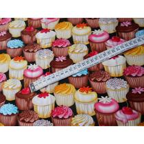 Tecido Importado 100% Algodão Cupcakes 45 Cm X 1,10m Tcpk3