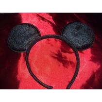 Lote 2 Tiaras Orelhas Mickey Mouse Em Tecido Luxo