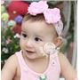 Linda Headband Nenem Bebe Menina Perola Renda Rosa